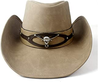 SHENTIANWEI Leather Cowboy Hat Women Men Western Cowboy Hat for Dad Gentleman Lady Leather Sombrero Hombre Jazz Cap