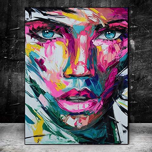 Puzzle 1000 piezas Imagen colorida abstracta del arte de la pintada del arte de la pintura de la cara de la muchacha puzzle 1000 piezas animales Rompecabezas de juguete de des50x75cm(20x30inch)