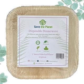 """Disposable Plates - 10pcs set of 7"""" Square natural Eco friendly disposable palm leaf plates/bowls - Biodegradable party pl..."""