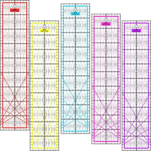 Patchwork Lineal Zentimeterraster 45 cm x 10 cm - Rot, Gelb, Blau, Pink, Lila (Gelb)