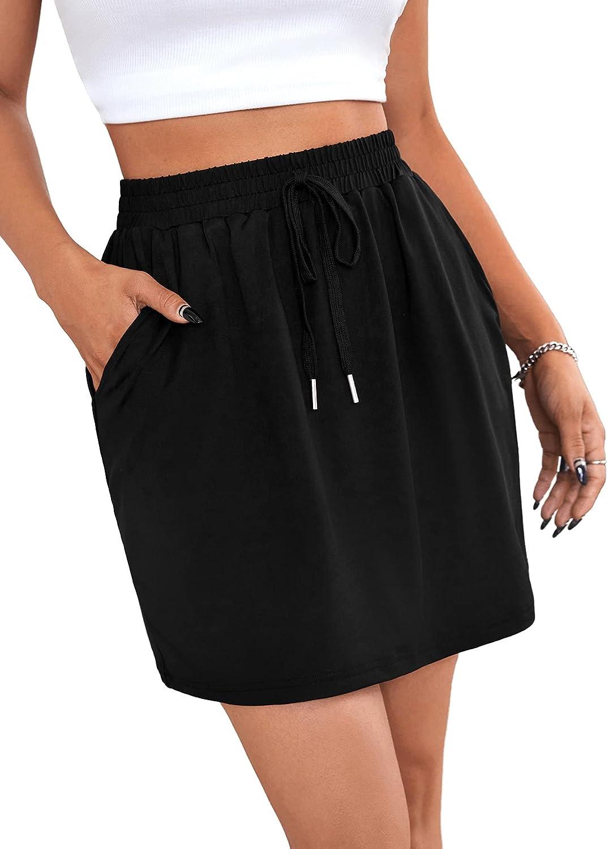 SweatyRocks Women's Elastic High Waist Casual Mini Straight Skirt with Pocket