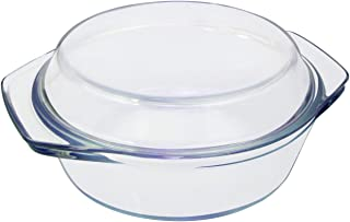 Clear Round Glass Casserole by NUTRIUPS | With Lid, Heat, Cold and Shock Proof,Oven, Freezer and Dishwasher Safe,1 L
