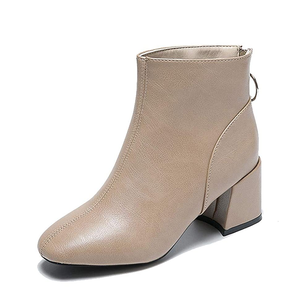 に慣れ半径たまに[Wansi] (ワンース) ブーツ レディース ブーティー ハイヒール バックジップ 太ヒール ヒール6.5cm ショートブーツ 歩きやすい 春秋 カーキ 24.5cm
