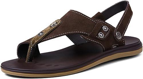 Sandales Chaussures Chaussures Chaussures de Sport pour Hommes en Plein air été Fisherman Beach Leather chaussures Décontracté Chaussures Plates pour Hommes Switch Sandless Backless Sandales (Couleur   Marron, Taille   44 EU) 8be