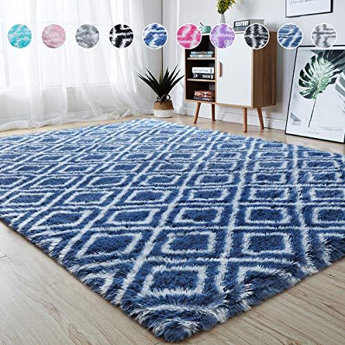 junovo Soft Area Rugs Fluffy Modern Geometric Rugs for Bedroom Living Room, Shaggy Floor Carpets Large Indoor Mat for Girls Boys Kids Room Nursery Home Decor, 5ft x 8ft Navy Blue