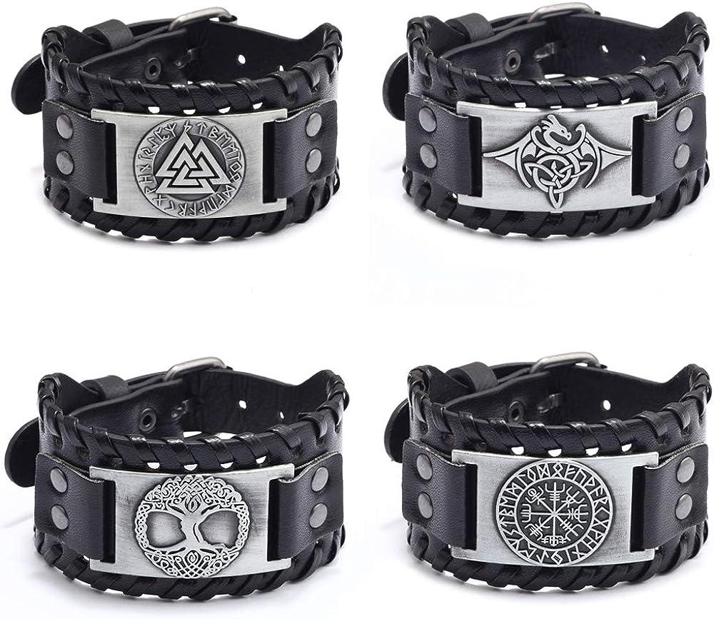 JEWPARK 4PCS Viking Bracelet Set Nordic Scandinavian Talisman-Go