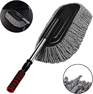Microfiber Car Duster Exterior Interior Cleaner Cleaning Kit size 15.7 inch with Long Retractable Handle to Trap Dust and Pollen for Car Bike RV Boats or Home use - Grey