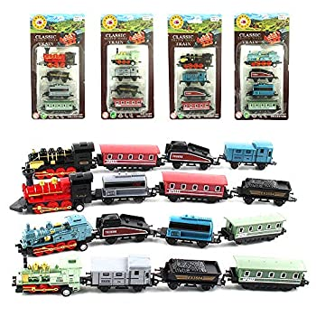 CORPER TOYS Mini Train Toy Die-Cast Pull Back Steam Train Model Set Assorted Styles for Kids Boys - 4 PACKS  16 pieces