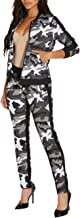 ZerMom Women's Casual 2 Pieces Outfits Jumpsuits Camouflage Bodycon Long Sleeve Tops Pants Sets Sweatsuits Tracksuits