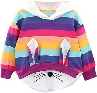 MEIbax Otoño e Invierno Moda Dibujos Animados Conejo Animal Arcoiris Estampado Rayas niña Sudadera con Capucha suéter Cami...