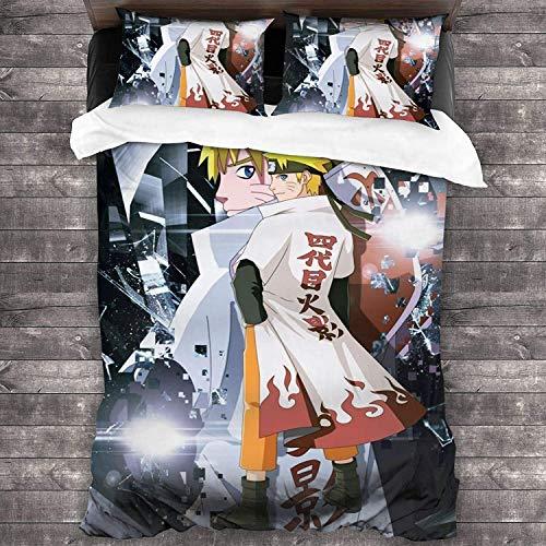cuicui Naruto Shippuden - Juego de ropa de cama, funda nórdica, juego de 3 piezas, adecuado para adolescentes y niñas (D09,140 x 210 cm + 50 x 75 cm x 2)