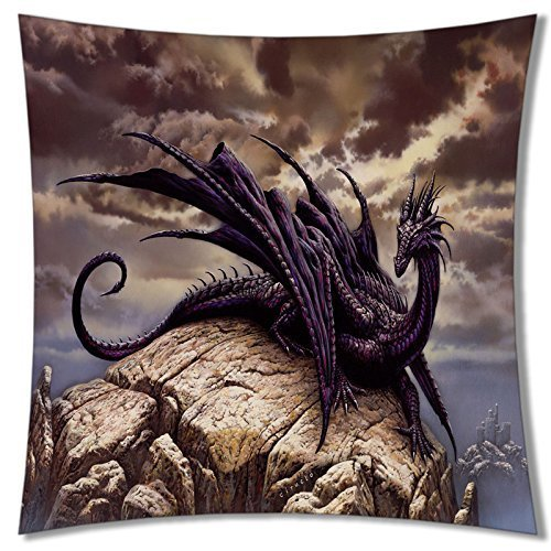 A-SLLE Square Unique Decorative Throw Pillow Case Cushion Cover Dragon Design 18 X 18 Two Sides Printed 95
