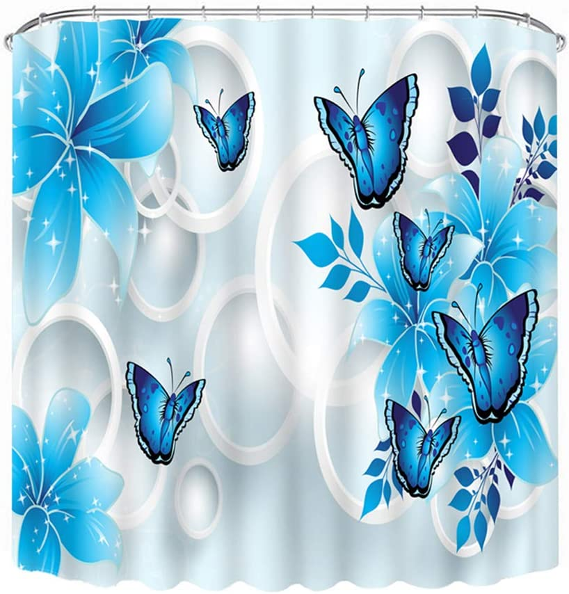Malicosmile Blue National uniform Financial sales sale free shipping Shower for Curtains Butterfly