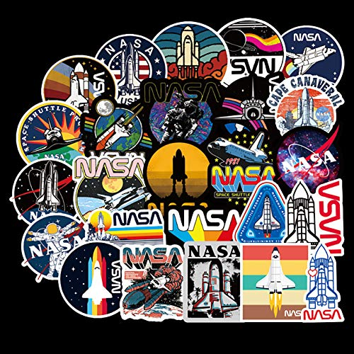 50 Pcs NASA Stickers Space Explorer Decals for Water Bottle Hydro Flask Laptop Luggage Car Bike Bicycle Waterproof Vinyl Universe Astronaut Stickers Pack