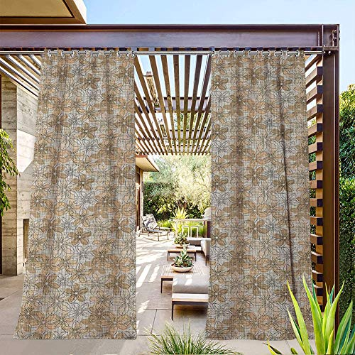 FOEYESEE Pergola Curtain Outdoor Sketch Style Floral Background with Grid Squares Pattern Geometric Line Art Peach Tan Black Great for Cabana/Covered Patio/Gazebo 84x96 Inch