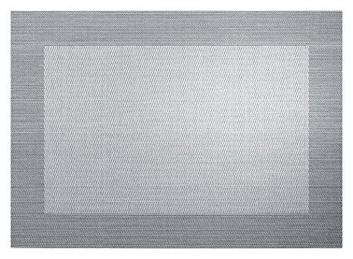 ASA Set de Table Bordé, Matériel Synthétique, Argent/Noir, 9x12x16 cm