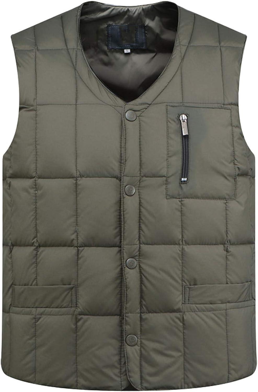 IGJMOD Mens White Duck Down Vest Casual Sleeveless Jacket Thick Warm Ultralight Tank Army Green Jacket XL