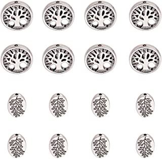 PH PandaHall 60pcs Antique Silver Oval & Round Tibetan Alloy Tree of Life Family Spacer Beads Jewelry Findings for Bracelet Necklace Jewelry Making