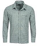 Tracht & Pracht - Uomo Cotone Camicia Bavarese Tradizionale a Quadri Verde - S