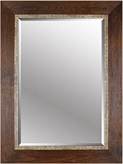 Mirrorize Beveled Hanging Wall Decorative Mirror with Brown Embossed Frame, 34-Inch by 46-Inch