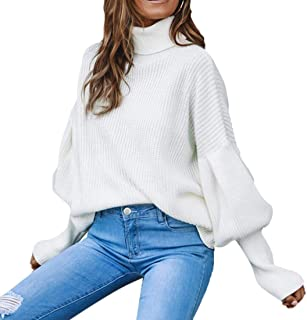 Women's Pullover Turtleneck Long Lantern Sleeve Warm Loose Knitted Jumper Sweater