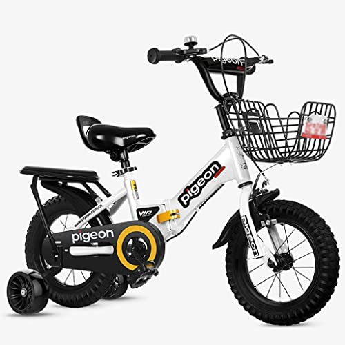 LI HAO SHOP Kinderfahrrad, Babyfahrrad, Kinder-Mountainbike, Jungenfahrrad, Kindergeschenk Klapp  Flash-Hilfsrad (Farbe   Weiß Größe    2-14 in)