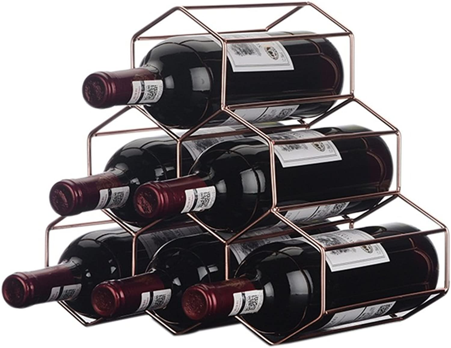 Shelf Wine Rack Freestanding Table Metal Iron Wine Bottle Rack   Shelf Hanging 6 Wine Bottles Stacking Wine Rack Stand Cabinet Bottle Holder Storage Stand Organiser Countertop for Restaurant,Home,Bar