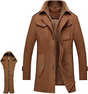ZENTHACE Men's Winter Solid Single Breasted Thicken Warm Wool Blend Pea Coat