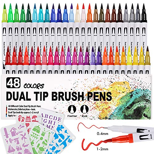 Lehoo Castle Filzstifte für Bullet Journal, 48 Farben Brush Pen Set mit 12 Schablonen, Dual Tip Brush Pen Fineliner, Pinselstifte Set Aquarell, Handlettering Set