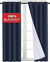 Full Blackout Waterproof Primitive Curtains with White Liner Thermal Window Treatment Panels 84 Inch Long for Living Room Curtains, Grommet Top, Energy Efficient Set of 2 Panel, Navy, 52 x 63 Inch