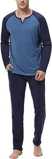Pijamas Hombre Algodón 2 Piezas Calentito Pijama Hombre Manga Larga Ropa de Dormir Top y Pantalones Pijamas