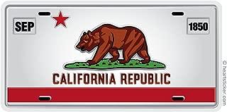 California Sticker Bear Republic License Plate Sticker Vinyl Decal Label Stickers, Die-cut Shape for Water Bottle Laptop Luggage Bike Laptop Car Bumper Helmet Waterproof Show Love Pride local Spirit.