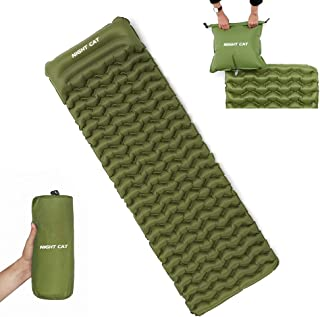 Night Cat Inflatable Sleeping Pads Mat Bed with Pillow and Air Bag for Camping, Backpacking Hiking; Ultra-Light, Compact, ...