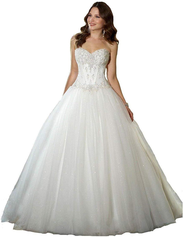 Alexzendra Sweetheart Tulle Wedding Bride Dress Beaded Bodice Long Bride Dress