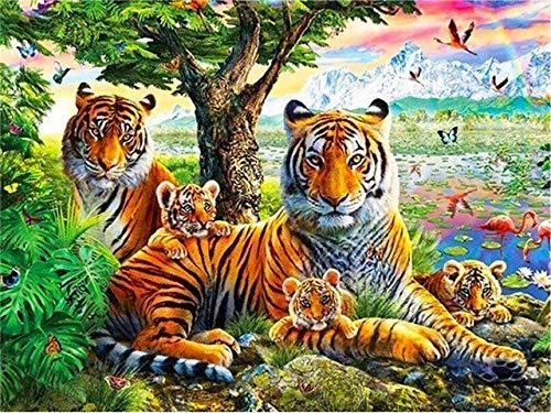 Tigre bordado de diamantes 5D DIY pintura de diamantes taladro redondo completo animales mosaico imágenes de diamantes de imitación decoración del hogar A11 50x60cm