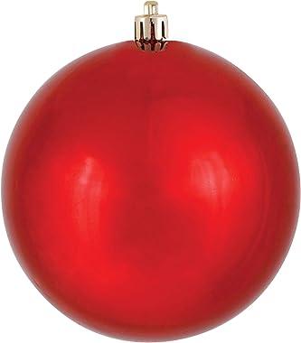 "Vickerman 6"" Red Shiny Ball Ornament, 4 per Bag"