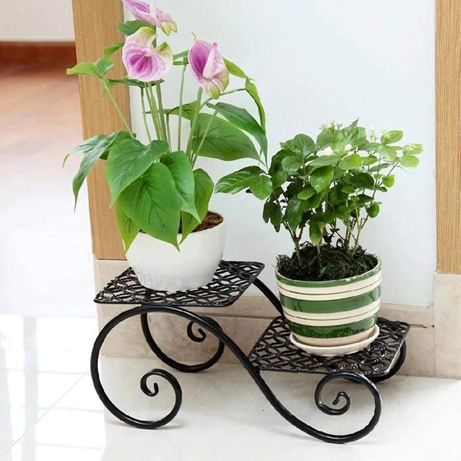 Flower Frame Wrought Iron Simple Plant Storage Rack Balcony Living Room Room Flower Stand Rack (color   Black)