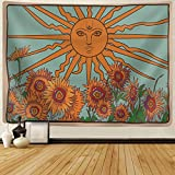 OCCIGANT Sun Sunflower Tapestry Bohemia Mandala Hand Drawn Medieval Europe Hippie Tarot Mysterious Orange Teal Watercolor Illustration Wall Art Blanket for Living Room Bedroom Dorm Room.