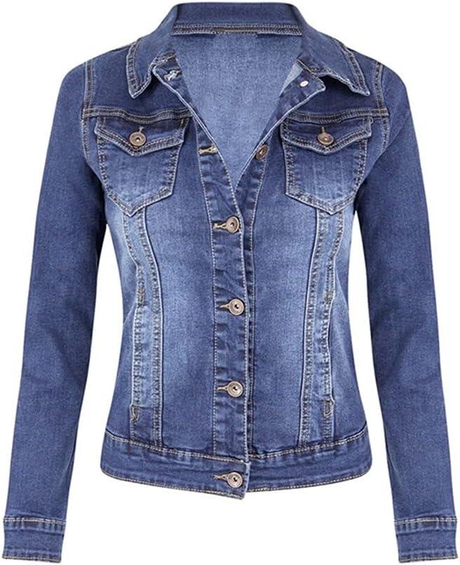 CDQYA Plus Size Short Denim Jackets Women Autumn Wash Long Sleeve Vintage Casual Jean Jacket Bomber Denim Coat Ladies Jacket Outerwear (Color : Blue, Size : 2XL Code)