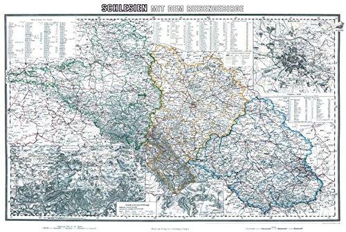 Historische Karte: Schlesien mit dem Riesengebirge, um 1890 [Regierungsbezirk Liegnitz, Oppeln und Breslau](plano)