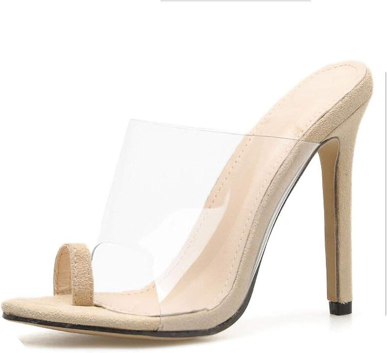 Threeflower Slippers High Heels PVC Women Peep Toe Ladies Flip Flops Summer Mules Casual Sandals Stiletto shoes