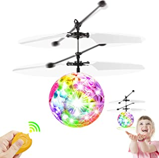 Flying Ball Toys, RC Toy for Kids Boys Girls Gifts Rechargeable Light Up Drone Ball, Infrared Induction Hand Suspension Helicopter with Remote Controller for Indoor and Outdoor Games (Crystal Ball)