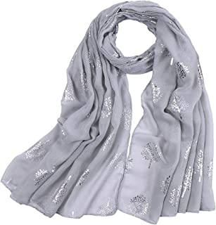 KAVINGKALY Ladies Scarf Silver Foil Mulberry Tree Print Long Scarf