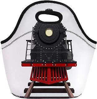 Semtomn Lunch Bags West Black Old Steam Locomotive Train 3D Rendering White Neoprene Lunch Bag Lunchbox Tote Bag Portable Picnic Bag Cooler Bag