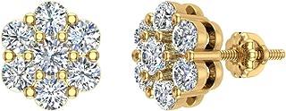 Orecchini a bottone con diamanti a grappolo da 0,62 ct con chiusura a vite in oro 14 carati