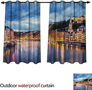 cobeDecor European Outdoor Ultraviolet Protective Curtains Saone River Lyon City W55 x L45(140cm x 115cm)