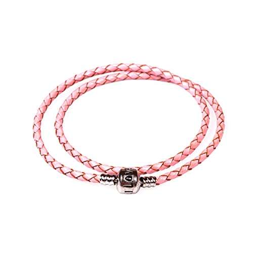 e37116ee2 NYBK Braided Real Leather Bracelet Double Wrap for Pandora Style Beads Charm ,41CM