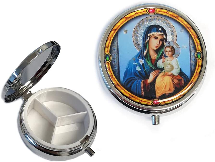 Religious OFFicial mail order Gifts Madonna and Child Saint Mary Organ Pill Icon Box Some reservation