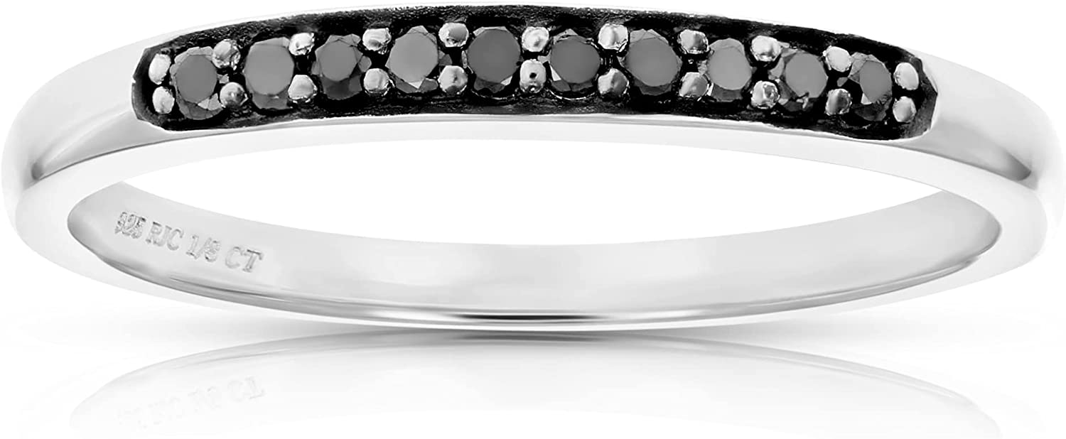 Outlet ☆ Free Shipping Vir Jewels 1 10 cttw Black .925 Sterli Diamond Wedding Ring 2021 autumn and winter new Band