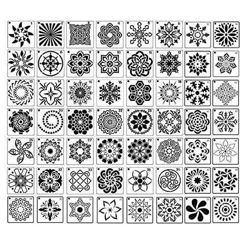 LCBYOG Plantillas De Dibujo,Plantillas De Pintura 36/56pcs Mandala Stencils Plantilla de Dibujo DIY Pintura de la Pared para la decoración de la Roca de Las baldosas (Color : 56Pcs)